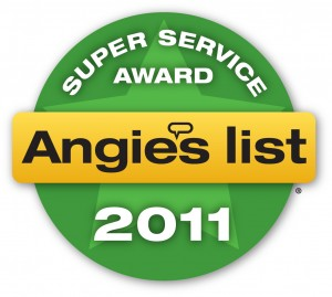 the 2011 Angie's List Super Service Award logo is a green circle with a light green star in the middle and a gold banner across the front with the words Angie's List