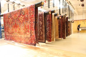 Large Area Rugs Drying on Suspension Racks