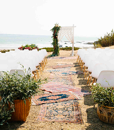 Beach Wedding With Aisle Rugs
