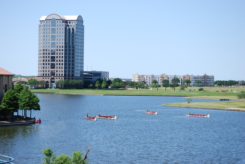 Dragon boats in a lake in Las Colinas, Irving, Texas
