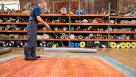 Rug Protection Being Applied