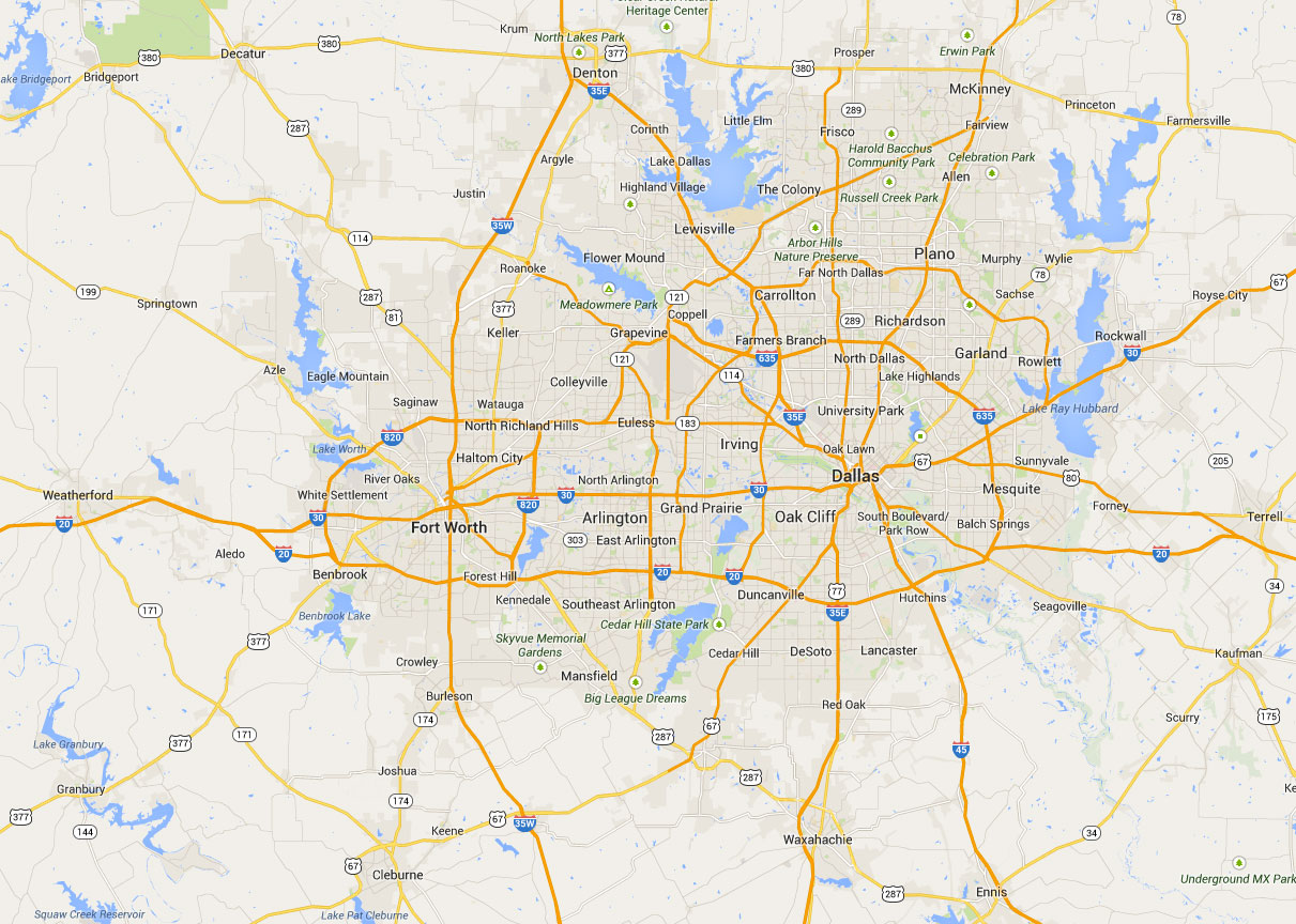 map of dallas, fort worth and outlying areas