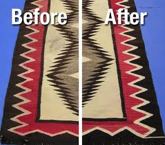 a side by side comparison of a navajo rug before cleaning and after cleaning