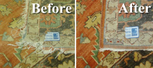 A Severely Damaged Rug Before and After Patching