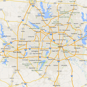 Map of Area Rug Cleaning Services area in Dallas - Ft Worth