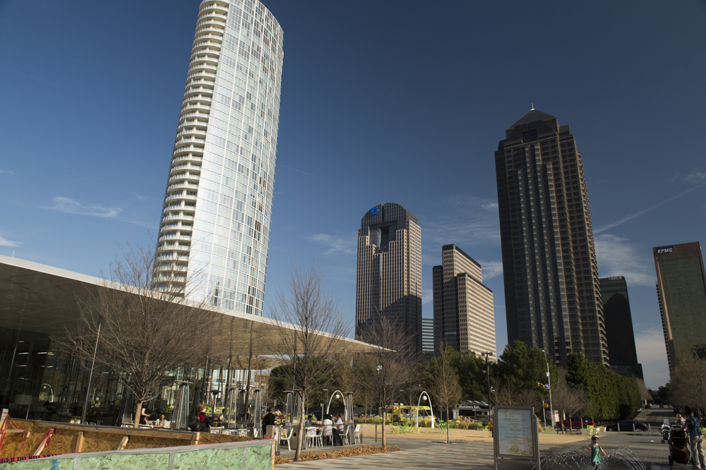 The Dallas skyline viewed from outside of Klyde Warren Park.