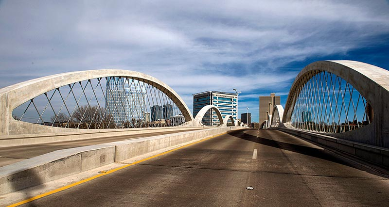 The modern West 7th bridge in Fort Worth, TX.