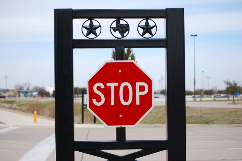 A stop sign in Grand Prairie, Texas